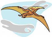 stock photo of pterodactyl  - Pterodactyl dinosaur flying overhead in the Clouds - JPG