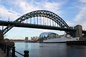 pic of tyne  - a view of the river tyne in newcastle showing the tyne and millenium bridges - JPG