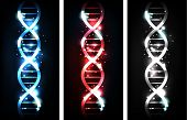 stock photo of cytoplasm  - Colorful sparkling gene chain banners blue red and neutral colors - JPG