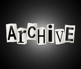 image of annal  - Illustration depicting a set of cut out printed letters arranged to form the word archive - JPG