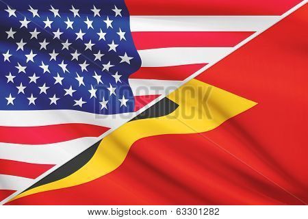 Series Of Ruffled Flags. Usa And Democratic Republic Of Timor-leste.