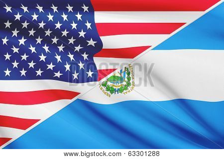 Series Of Ruffled Flags. Usa And Republic Of El Salvador.