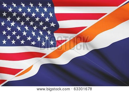 Series Of Ruffled Flags. Usa And Republic Of The Marshall Islands.