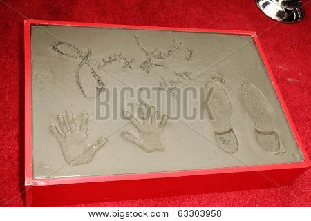 LOS ANGELES - APR 12:  Jerry Lewis' Handprints and Footprints at the Jerry Lewis Hand and Footprint Ceremony at TCL Chinese Theater on April 12, 2014 in Los Angeles, CA