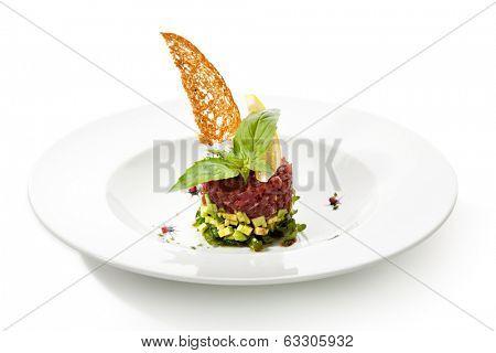 Tuna with Avocado Tartare with Lemon Slice