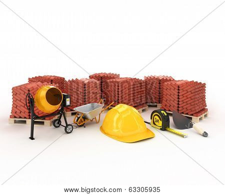 brick, level, trowel and a helmet on a white background. 3d render