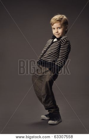 Child Boy Fashion Studio Portrait, Kid Smart Casual Clothing, Hand In Pocket