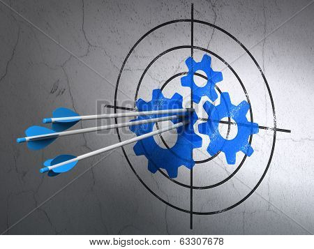 Data concept: arrows in Gears target on wall background