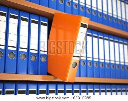 Office file binders on shelf. Archive. 3d