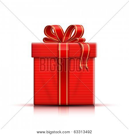Gift box, ribbon and bow. Vector illustration