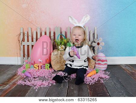 Toddle Girl Being Silly At Easter