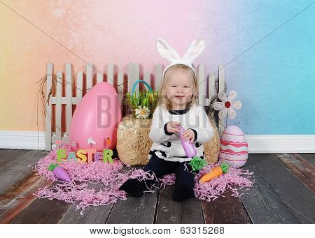 Sweet Toddler Girl At Easter With Headband