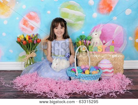 Beautiful Little Girl At Easter