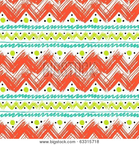 Ethnic pattern hand painted with zigzag brushstrokes
