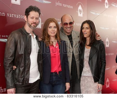 LOS ANGELES - APR 13: Darren Le Gallo, Amy Adams, John Varvatos, Joyce Varvatos at the John Varvatos 11th Annual Stuart House Benefit at  John Varvatos Boutique on April 13, 2014 in West Hollywood, CA