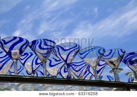 Mexican Wine ( Martini) Glasses On Blue Sky Background