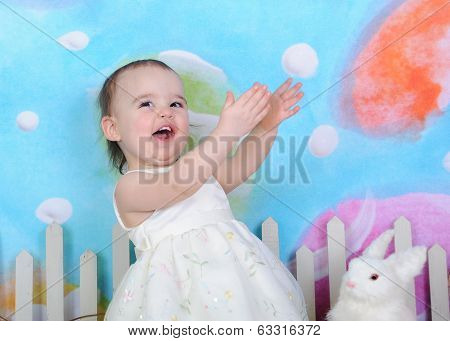 Excited Toddler Girl At Easter