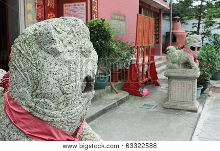 Chinese Guardian Lions. Tam Kung Temple In Macau