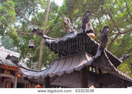 The Roof Is With Dragons. View Of Lin Fung Temple