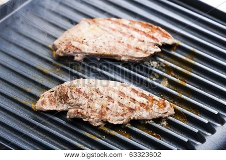 beefsteak on electric grill