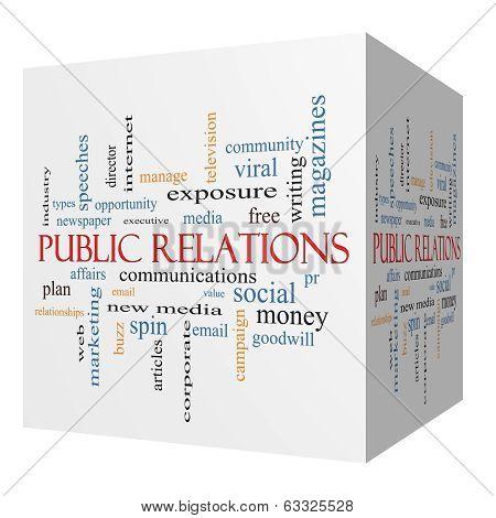 Public Relations 3D Cube Word Cloud Concept
