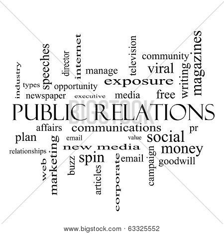 Public Relations Word Cloud Concept In Black And White