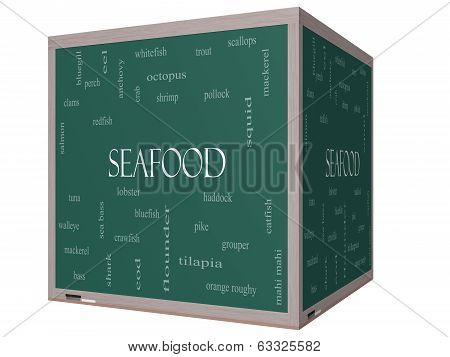 Seafood Word Cloud Concept On A 3D Cube Blackboard