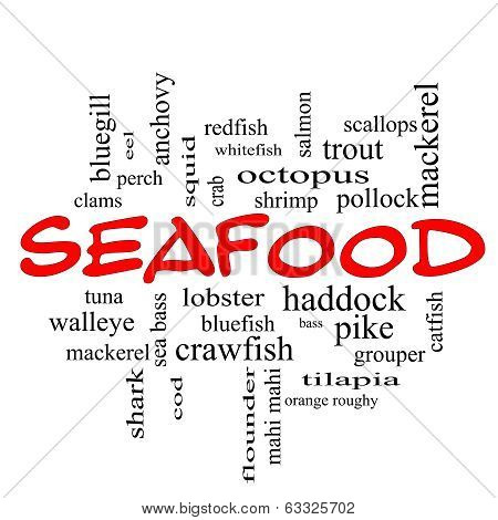 Seafood Word Cloud Concept In Red Caps