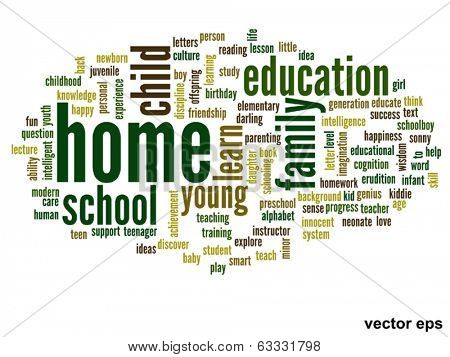 Vector eps concept or conceptual home and education abstract word cloud on white background