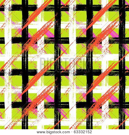 Seamless plaid pattern with bold brushstrokes and stripes