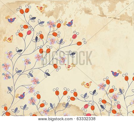 Floral background on paper texture with roses