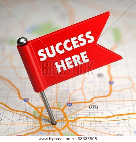 Success Here - Small Flag on a Map Background.
