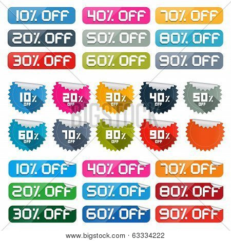 Colorful Vector Discount Stickers, Labels Set on White Background