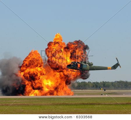 Helicopter Near Explosion