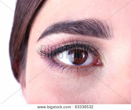Beautiful female eye with bright make-up close up
