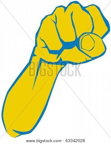 Vector illustration of angry man hand, fist, elbow