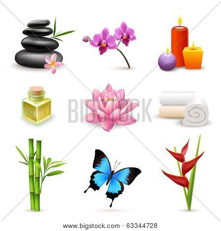 Realistic spa icons set
