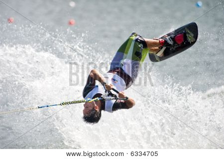 Waterski Man Shortboard In Action