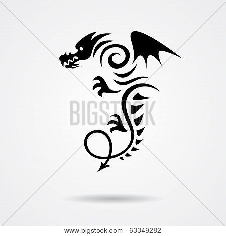 Black dragon on white background
