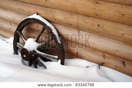 Wooden Wheel Of The Cart.