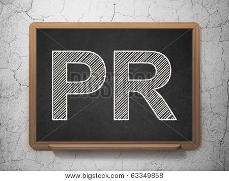 Marketing concept: PR on chalkboard background