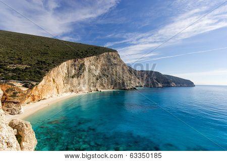 beautiful beach at leukada island in greece