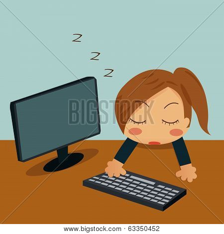 Businesswoman Sleeping In Her Office