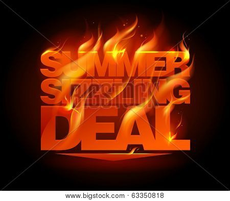 Fiery summer sizzling deal design template. Eps10 Vector.