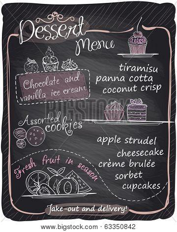 Chalkboard dessert menu. Eps10