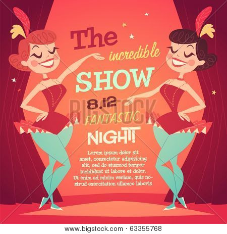 Cabaret Ladies poster. Vector illustration.