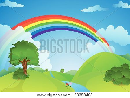 ainbow over the valley with the river and trees / vector illustration