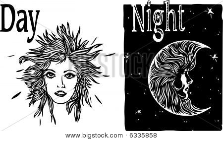 Day and Night sun and moon with women's faces illustration