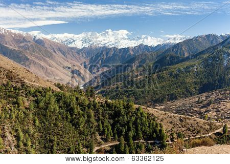 Lower Dolpo - Landscape Scenery Around Dunai, Juphal Villages And Dhaulagiri Himal From Balangra Lag