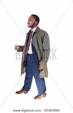 Man In Coat Walking.
